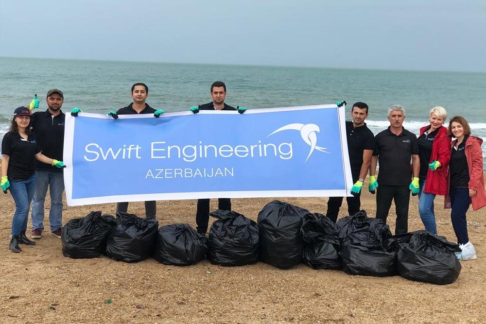 Airswift Baku Beach Clean Up Sign 2019