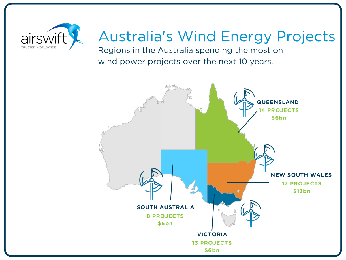 Australia's wind energy projects - map